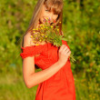 The girl with a bouquet — Stock Photo #3319567
