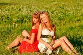 Chicas guapas sentado en una hermosa pradera — Foto de Stock