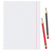 Folha de papel branco com lápis — Vetorial Stock