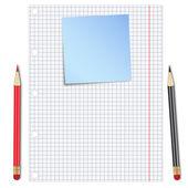 Hoja de papel blanco con lápices y nota azul — Vector de stock