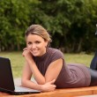 Young pretty woman with laptop — Stock Photo #3466039