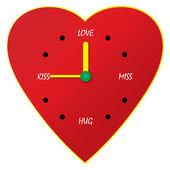 Klok van de liefde — Stockvector