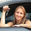 The happy woman showing the key — Stock Photo #3724050