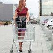 Woman with Shopping Cart — Stock Photo #3730850