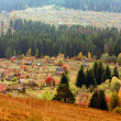 Beautiful autumn mountain and the village - Stock Photo