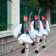Three Greek guards marching — Stock Photo