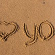 Inscription on the sand, I love you — Stock Photo