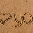 Inscription on the sand, I love you — Stock Photo #2811186