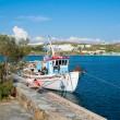 A boat on dock of island of Mykonos — Stock Photo