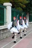Three Greek guards marching — Stock Photo