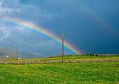 Rainbow over the green meadows — Stock Photo