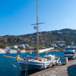 National Greek fishing boat in port — Stock Photo