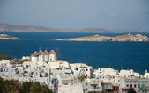 View of town of Mykonos and windmills — Stock Photo