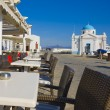 The restaurant and the Church on Mykonos — Stock Photo