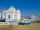 Church on Mykonos by boat — Stock Photo