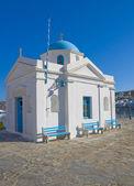 White-blue church on island of Mykonos — Stock Photo