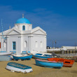 Church on beach with  boats — Foto Stock