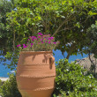 Clay pot with flowers in garden near sea - Stock Photo