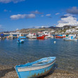 Fishing boats in Bay of Chora Mykonos — Foto de Stock
