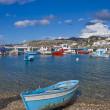 łodzie rybackie w zatoce chora mykonos — Zdjęcie stockowe