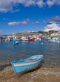 Fishing boats in Bay of Chora Mykonos — Stock Photo