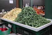 String beans on the vegetable market. — Stock Photo