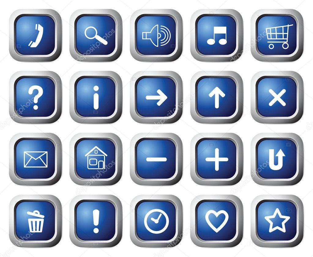 带符号的方形按钮 — 图库矢量图片 #3874652
