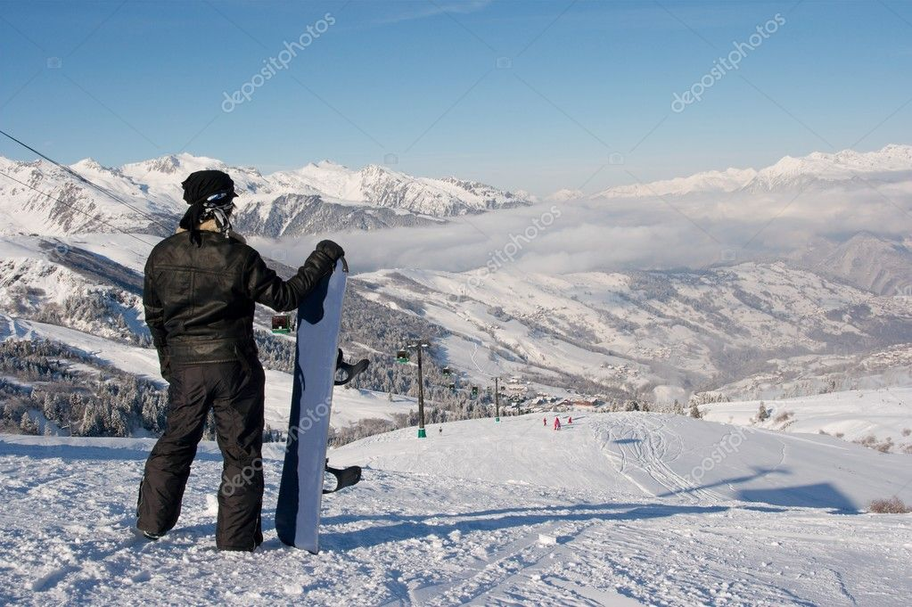 Snowboarder standing on the top of the track — Stock Photo #2824845