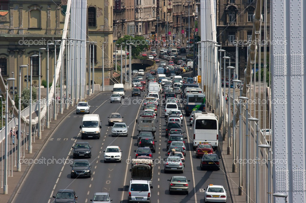 Heavy traffic on a main road over a bridge — Stock Photo #2825278