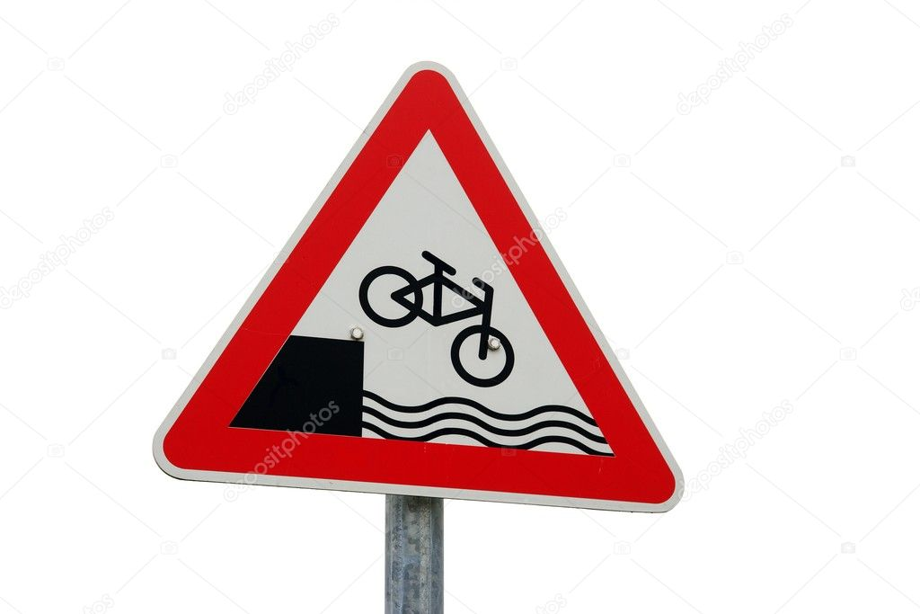 Warning sign reminds about the danger of falling into the water with your bicycle — Stock Photo #3665293
