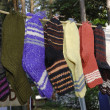 Row of woolen socks — Stock Photo