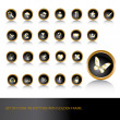 Set of icons on black buttons and golden frame - Stock Photo