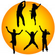 Happy silhouettes jumping — Stock Photo #3312298