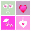 Heart shapes on colored background - Stock Photo