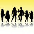 Man woman and children silhouettes in costumes - Stock Photo