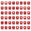 Red and white icons and buttons collection - Foto Stock