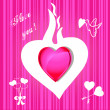 Valentine card on pink background — Stockfoto