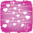 Valentine card with bird and hearts on pink — Stock Photo