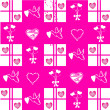 Valentine pattern on pink background — Stock Photo