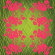 Web pink flowers on green background — Stock Photo