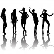 5 women silhouettes with fashion attitudes - Stock Photo