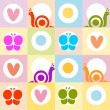 Stock Photo: Background pattern with snails,hearts and butterflies