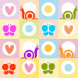 Background pattern with snails,hearts and butterflies — Stock Photo #3313296