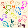 Stock Photo: Background with houses, and hearts