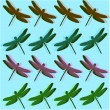 Blue pop art with dragonflies - Stock Photo
