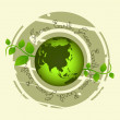 Stamp with green earth — Stock Photo