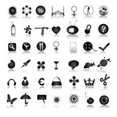 Black icons collection — Stock Photo
