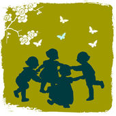 Children silhouettes playing in spring — Stock Photo