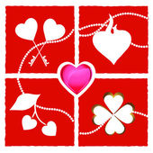 Heart shapes on red background — Stockfoto