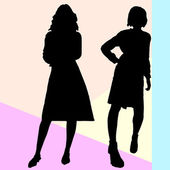Office and casual women silhouettes — Stock Photo